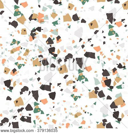 Vector Terrazzo Seamless Pattern. Abstract Textured Background Done From Real Broken Small Tile Chip