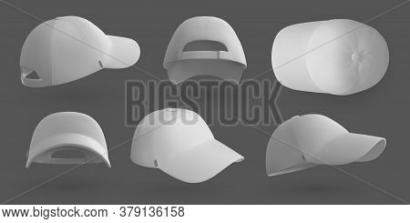 Realistic Cap. White 3d Baseball Hat Mockup Template, Blank Clothing Design For Brand Identity. Vect