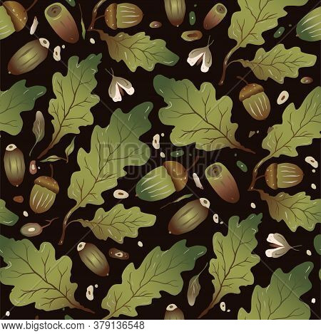 Hand Drawn Trendy Forest Background. Seamless Vector Pattern. Floral Autumn Design In A Flat Style.