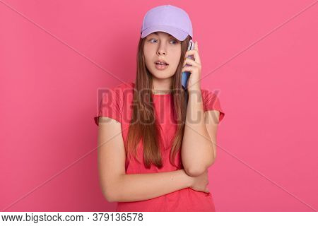Female With Opened Mouth Wearing Casual Attire Talking To Somebody Via Modern Smart Phone, Having As