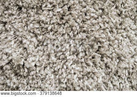 White Wool Carpet Close-up. Soft Loop Pile Surface.