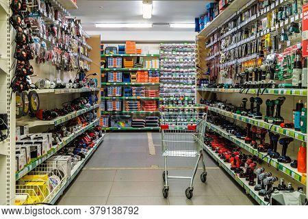 Belgorod, Russia - September 10, 2019: Passage Between Shopping Rows In Construction Market. Shelves
