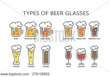 Beer Glasses Types Colorful Cartoon With Editable Stroke And Fill. Line Mug, Pint, Pilsner Glass Vec