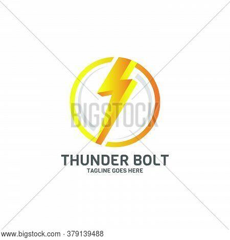 Thunder Bolt Power Logo Design Template Isolated On White Background