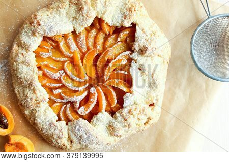 Homemade Apricot Galette Made With Fresh Organic Apricotes. High Quality Photo