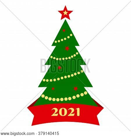 2021 Christmas Tree Icon With Decoration And Ribbon Isolated On White Background. Vector Illustratio