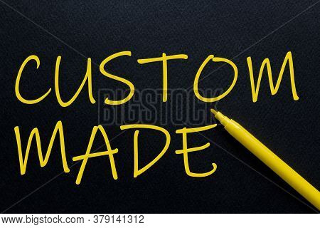 Custom Made Yellow Pen With Yellow Text Own Rent At The Black Background