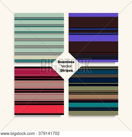 Sailor Stripes Seamless Pattern Set. Elegant Lines Endless Texture. Childrens Female Male Seamless S