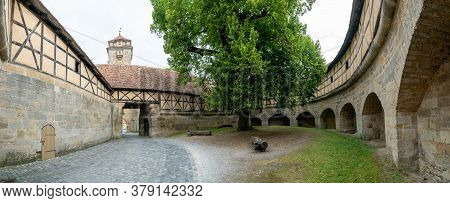 A View Of The Historic Spital Bastion City Gate And Guard Tower In Rothenburg Ob Der Tauber