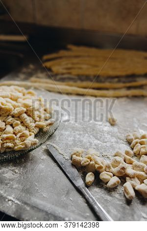 45 Degree View Of A Dish With The Preparation Of Homemade Gnocchi