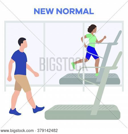 Vector Illustration Reopening Of Fitness Center, Sports Clubs After Coronavirus Quarantine. People D