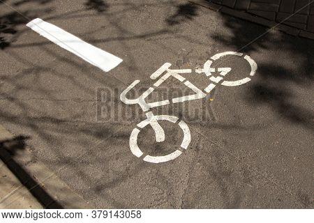 Bike path, a symbol of a Bicycle path on asphalt