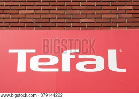 Tournus, France - July 5, 2020: Tefal Logo On A Wall. Tefal Is A French Cookware And Small Appliance