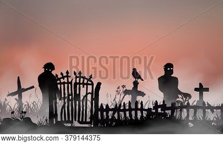 Halloween Related Landscape With Undead People, Graveyard Gates, Fence And Tombs Between Field Grass