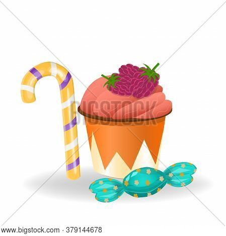 Cupcake With Raspberries, Candy And Lollipop Isolated On White Background. Illustration In Cartoon S