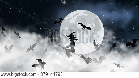 The Witch Sitting On The Broom Flyes Through Clouds Up Above The Sky With Moon And Stars Shining On