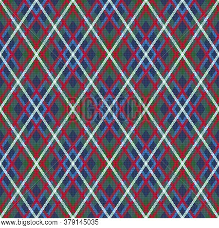 Detailed Rhomb Seamless Illustration Pattern As A Tartan Plaid Mainly In Blue And Green Hues With Re