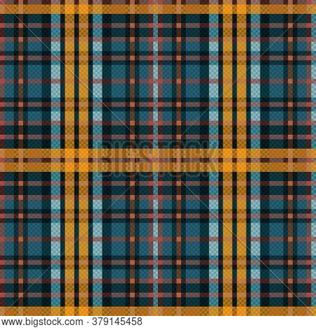 Seamless Rectangular Vector Pattern As A Tartan Plaid Mainly In Muted Blue And Khaki Colors, Texture