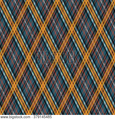 Seamless Rhombic Vector Pattern As A Tartan Plaid In Muted Blue And Light Khaki Hues With Pale Blue