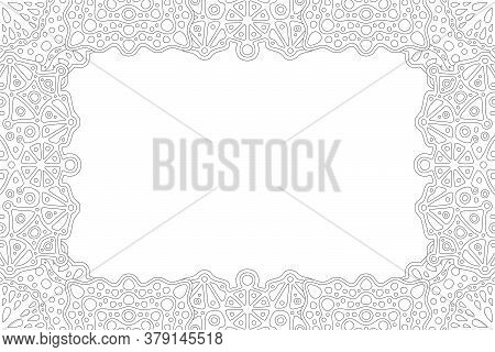 Beautiful Monochrome Linear Illustration For Adult Coloring Book Page With Abstract Rectangle Border