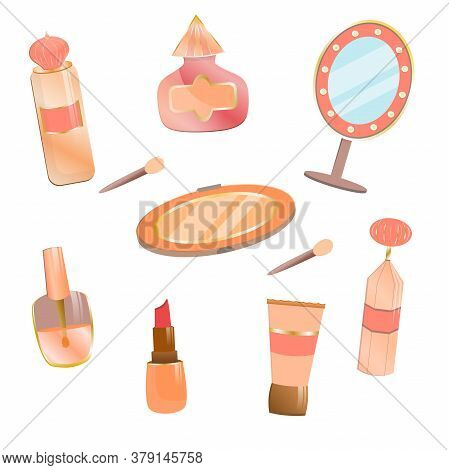 Set Of Cosmetics In Cartoon Style. A Mirror With Flashlights And A Palette Of Eyeshadows With A Spon