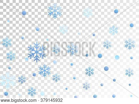 Crystal Snowflake And Circle Elements Vector Illustration. Airy Winter Snow Confetti Scatter Banner