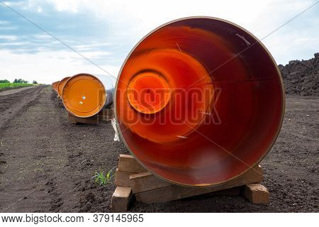 Large Pipes For The Construction Of A Waterway