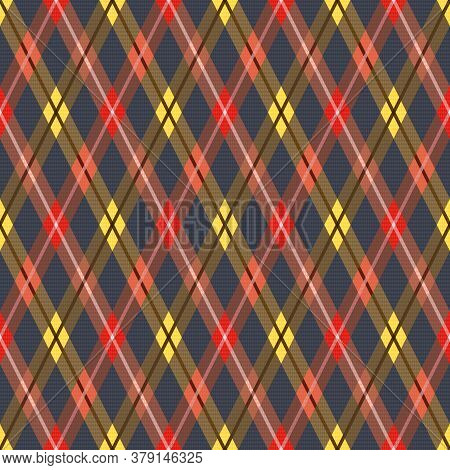 Detailed Rhomb Seamless Vector Pattern As A Tartan Plaid, Multicolor Texture For Flannel Shirt, Plai