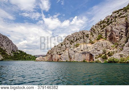 Rocks Along The Banks Of The River In The National Park Krka, Croatia