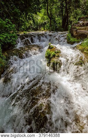 Wooden Pathway Trough The Dense Forest Near Krka National Park Waterfalls, Croatia