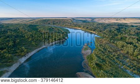 Sunrise On The Don River, Aerial View Of Morning Mist At Sunrise, Morning Mist On The River,  Aerial