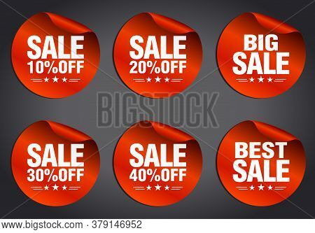 Red Sale Stickers Set 10%, 20%, 30%, 40% Off, Big Sale, Best Sale With Stars On A Dark Background. V