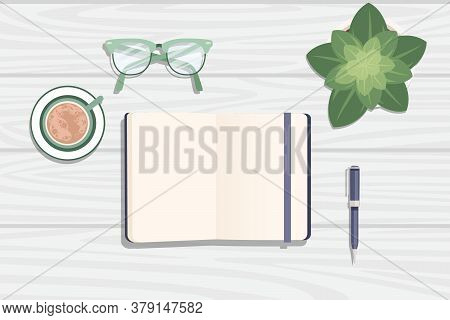 Flat Workplace Organization Top View With Wooden Texture Table Notepad Cup Flower Pot Eyeglasses And