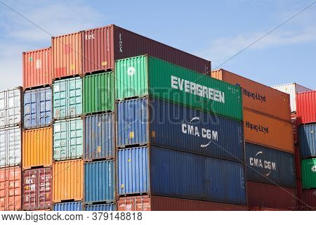 Stacked High Shipping Containers At Southampton Docks In The Uk, Taken On The 10th July 2020