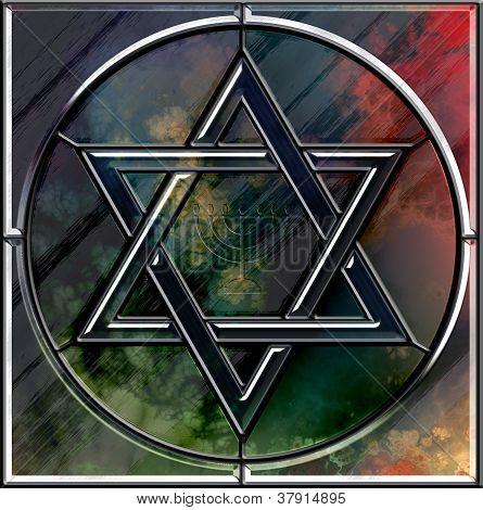 Star Of David And Menorah Cut Glass Symbol