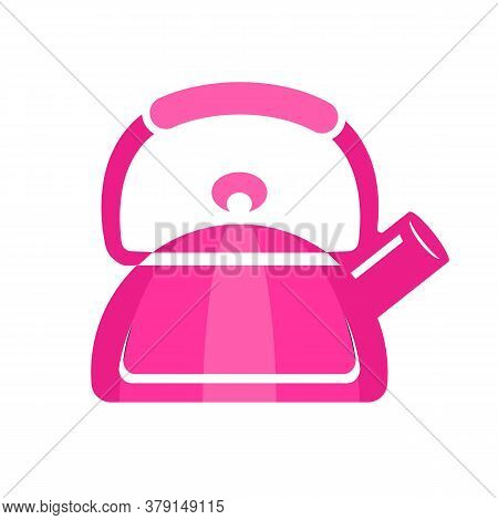 Teapot Steel Vector Icon Flat Style. Pink Kettle On Isolated Background. Warm Comfort In Your Home.