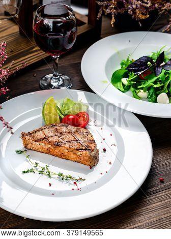 Barbecue Tuna Steak Closeup On A Plate. Steak Tuna Grill Bbq