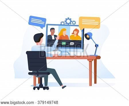Man Having A Conference Call With His Business Team Online, Telecommuting, Remote Work And Business