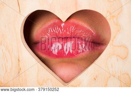 Girl Lipstick. Female Lips. Natural Beauty Lip Care. Sexy Female Lips With Pink Lipstick. Sensual Wo