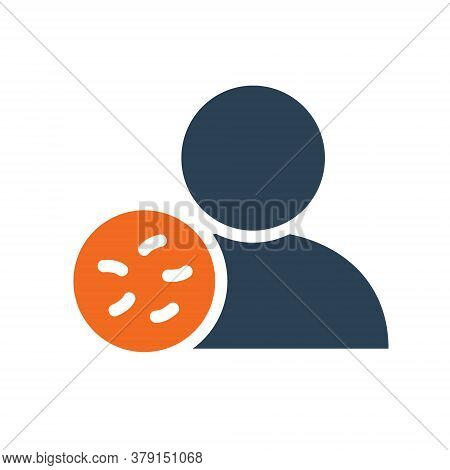 User Profile With Bacteria Line Icon. Infections, Coronavirus, No Admittance Symbol