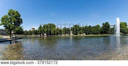 Stuttgart, Bw / Germany - 21 July 2020: Panorama View Of The Eckensee Lake And Park In The Heart Of