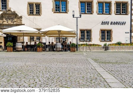 Stuttgart, Bw / Germany - 21 July 2020: The Alte Kanzlei Restaurant On The Market Square In Downtown