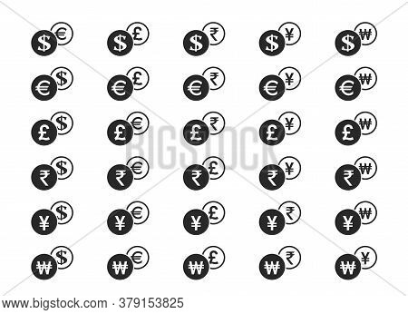 Currency Exchange Icon Set. Dollar, Euro, British Pound Sterling, Japanese Yen, Indian Rupee And Kor