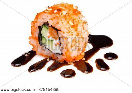 Sushi Roll (california) With Crab Meat, Avocado, Cucumber Inside And Masago (smelt Roe), Unagi Sauce