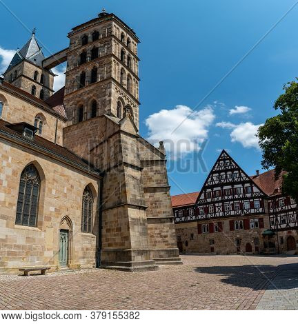 Esslingen, Bw / Germany - 21 July 2020: The Historic Church Of St. Dionys In The Old Town Of Essling