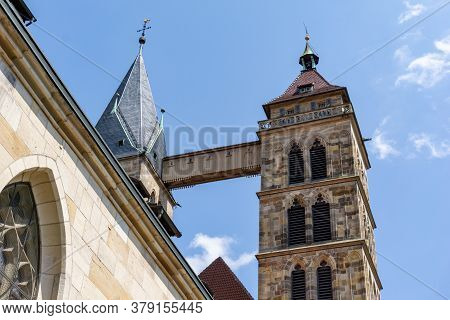 Esslingen, Bw / Germany - 21 July 2020: The Wooden Bridge Connecting The Two Church Steeples Of St.
