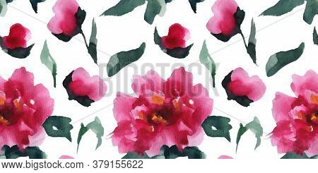 Floral Seamless Pattern Of Pink Peones, Chinese Watercolor Art With Clipping Path