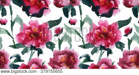 Floral Seamless Pattern Of Pink Peones, Asian Watercolor Art, Clipping Path Included