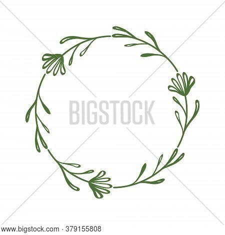 Cute Stylish Wreath Of Flowers And Twigs. Round Decorative Frame. Contour Drawing Of A Flower And Le