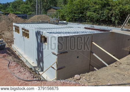 Cellar Made Of Prefabricated Concrete Walls As Waterproof Construction Of A Detached House